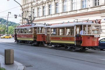 Shot of a tram numbered 628 at the back