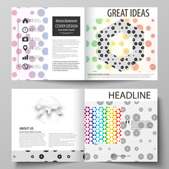Business templates for square design bi fold brochure, flyer, report. Leaflet cover, abstract flat layout. Chemistry pattern, hexagonal molecule structure. Medicine, science and technology concept.