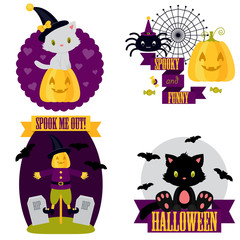 Halloween cute clip-art set