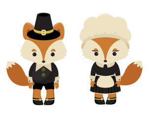 Two foxes pilgrims