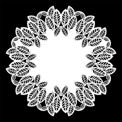 Lace round paper doily, lacy snowflake, greeting element,  template for cutting  plotter, round pattern, laser cut  template, doily to decorate the cake,  vector illustrations.