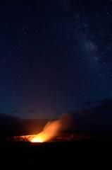 Halemaumau Crater under a starry sky, Big Island, Hawaii