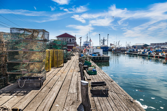 Union Wharf lobster traps on Portland's working waterfront, Maine