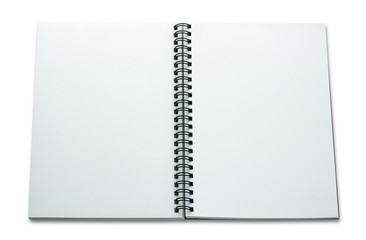 open spiral notebook isolated on white background