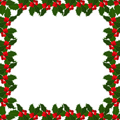 Christmas holly berries frame on white bacground. Vector illustration