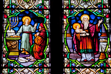 Foto op Aluminium Imagination Baby Youth Jesus Stained Glass National Shrine of Saint Francis