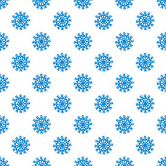 Seamless pattern from blue snowflakes