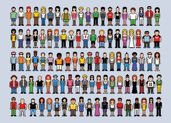 Set of 100 pixel art people avatars, video game style vector illustration