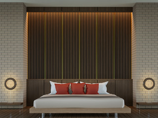 Modern elegant contemporary bedroom 3d rendering  image.There are wood floor Decorate wall with wood lattich and brick pattern