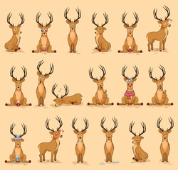 Illustrations isolated emoji character cartoon deer stickers emoticons with different emotions for site