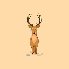 Illustration isolated emoji character cartoon deer crying, lot of tears sticker emoticon for site