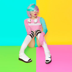 Minimal fashion Pop Art. Vanilla color. Girl DJ. Doll style. fit