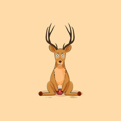 Illustration isolated emoji character cartoon deer nervous with cup of coffee sticker emoticon for site