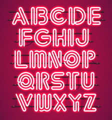 Glowing red Neon Alphabet with letters from A to Z. Shining and glowing neon effect. Every letter is separate unit with wires, tubes, brackets and holders.