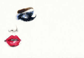Deurstickers Aquarel Gezicht Beautiful woman face. Fashion watercolor illustration. Beauty background