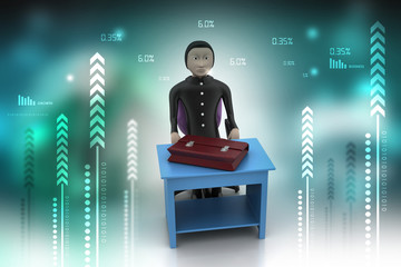 3d business man with briefcase in office
