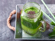 Smoothies of green vegetables and fruits.Kiwi,Apple,spinach,Chia seeds.Drink Concept of Healthy Eating. selective focus.