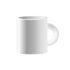 Vector white ceramic mug isolated on white background.