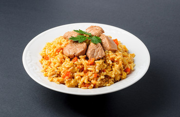Fragrant Pilau. Pilaf, fried rice with meat and vegetables