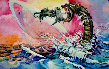 water dragon .Dragon fantasy.Hand water color painting on paper