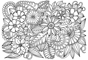 Black and white flower pattern for coloring.