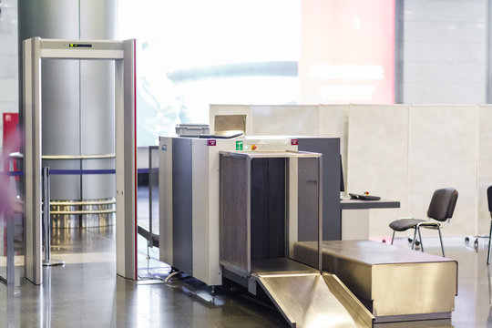 Airport security check point with metal detector