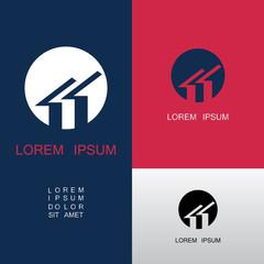 circle roof icon vector logo