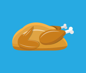 Fried chicken or turkey isolated on blue