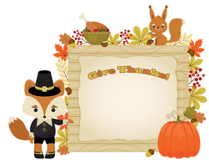 Beautiful Thanksgiving illustration with animals and autumn leav