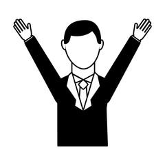 businessman avatar with hands up vector illustration design