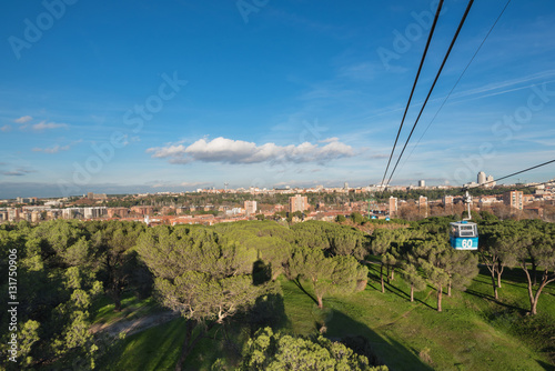 Cable car over casa de campo park in madrid spain - Casa de campo park ...