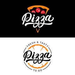 Set of pizza hand written lettering logo, label, badge.