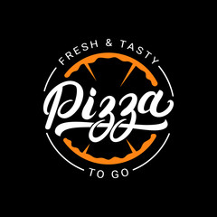 Pizza hand written lettering logo, label, badge.