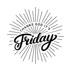 Thanks god it is friday hand written lettering.