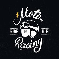 Retro racer helmet and motoracing hand written lettering.