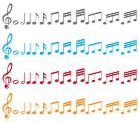 different colored sheet music
