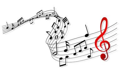Musiknoten mit einem roten Notenschlüssel