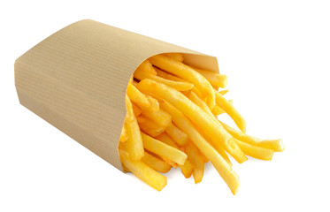 French fries in kraft paper box isolated on white background.