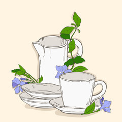 Cute poster with teapot and cup and flowers of periwinkle