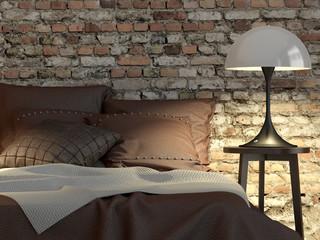 Schlafzimmer mit Bett, Doppelbett und Ziegelwand