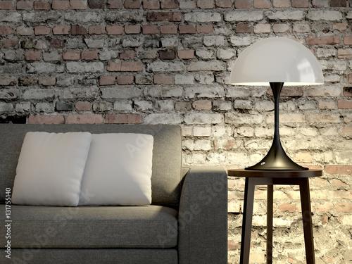 Schon Wohnzimmer, Sofa, Lampe. Steinwand