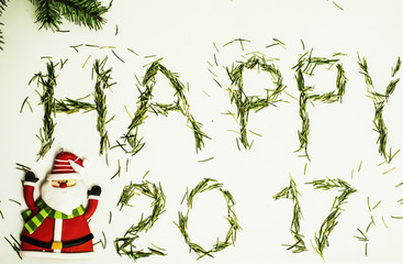 happy new year design on white background with pine tree and santa claus