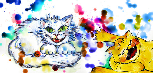 cutte cat wattercolor illustration