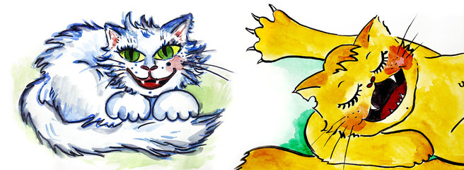 cutte cat wattercolor illustration