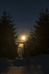 Sunrise in Jeseniky mountains in Christmas time