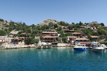Harbour of Kalekoy and Simena Castle Near Kekova Island in Turkey