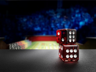 dices on craps casino table before throw
