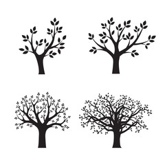 Set Black vector Trees. Vector Illustration. Park and Nature.