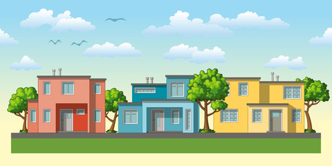 Illustration of modern family housees with trees