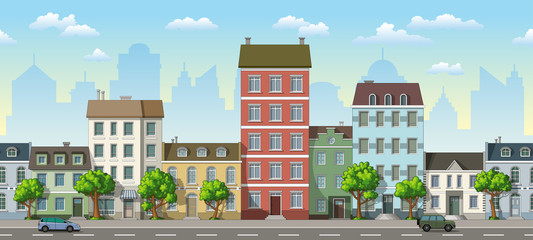 Seamless cityscape cartoon background with cars